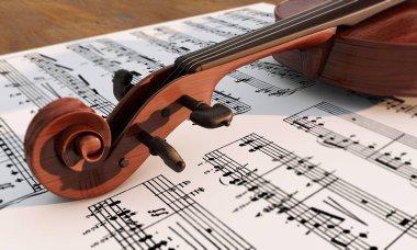 Vintage viola on sheet music background 3d render