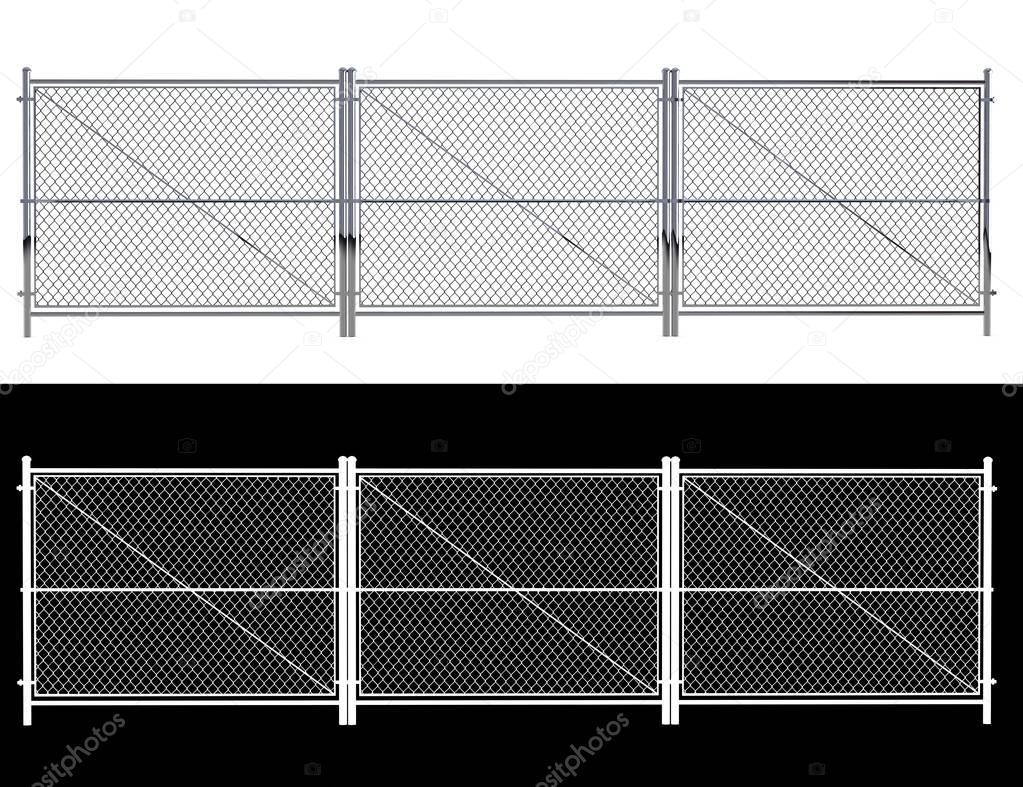 Cl ture en fil m tal cl ture en fil m tallique isol a isol sur blanc r 3d photographie for Cloture metal