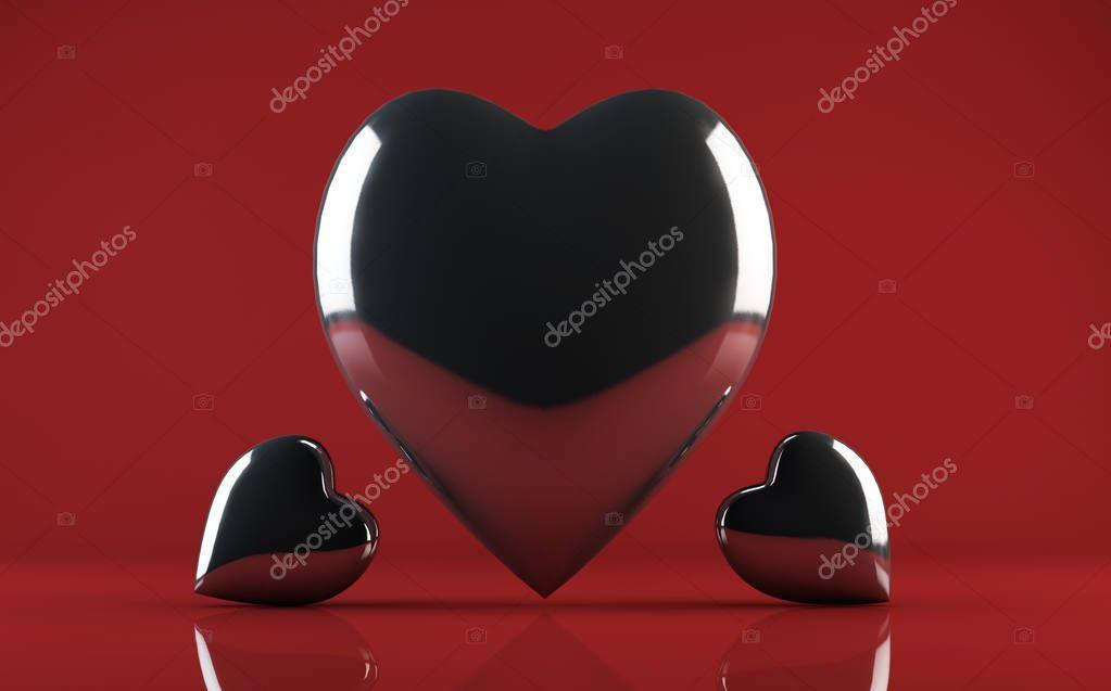 Shiny glass heart on burgundy background 3d render