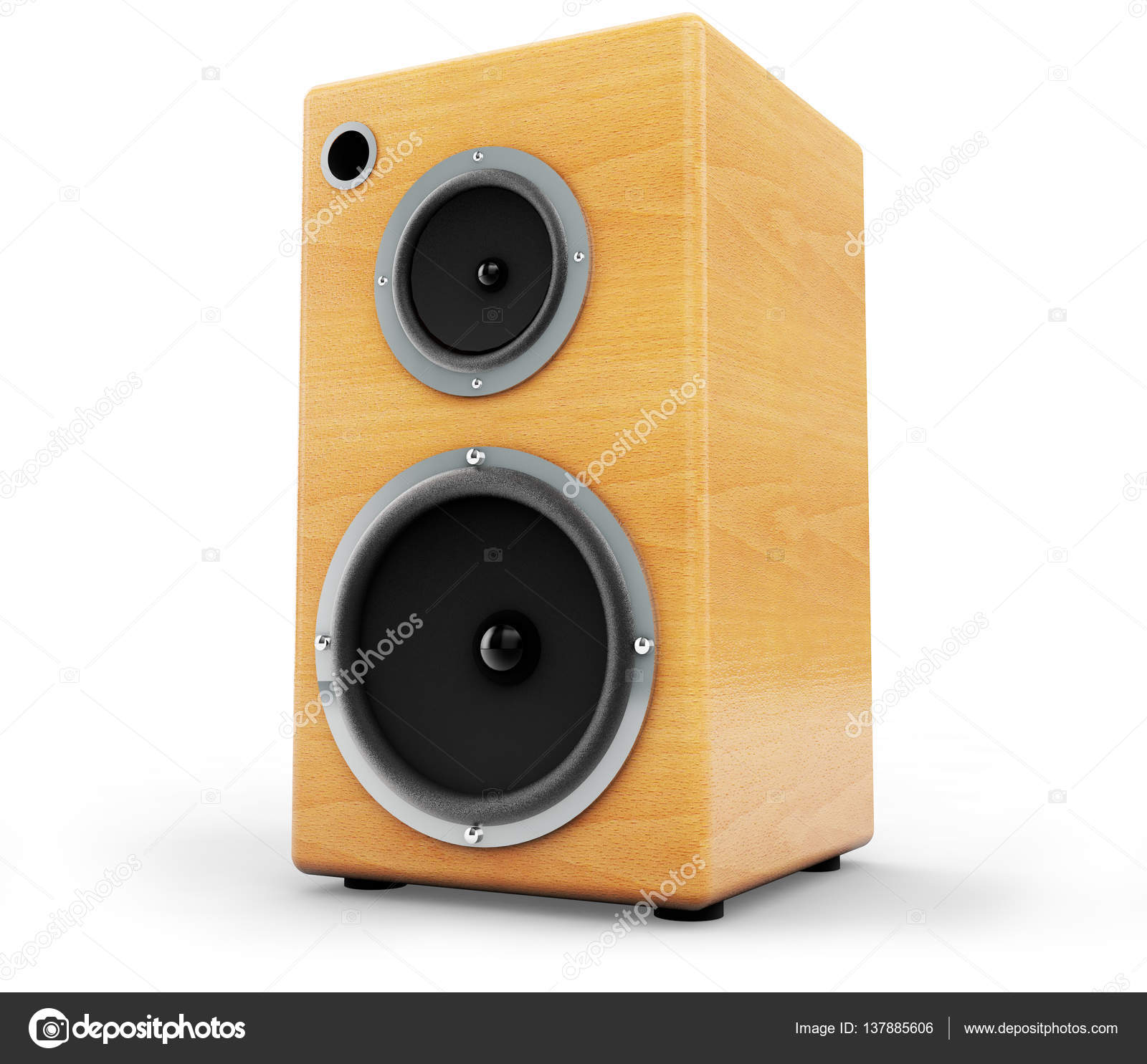3d Rendering Wooden Audio Speaker Boxes On White Background Photo By Vadarshop