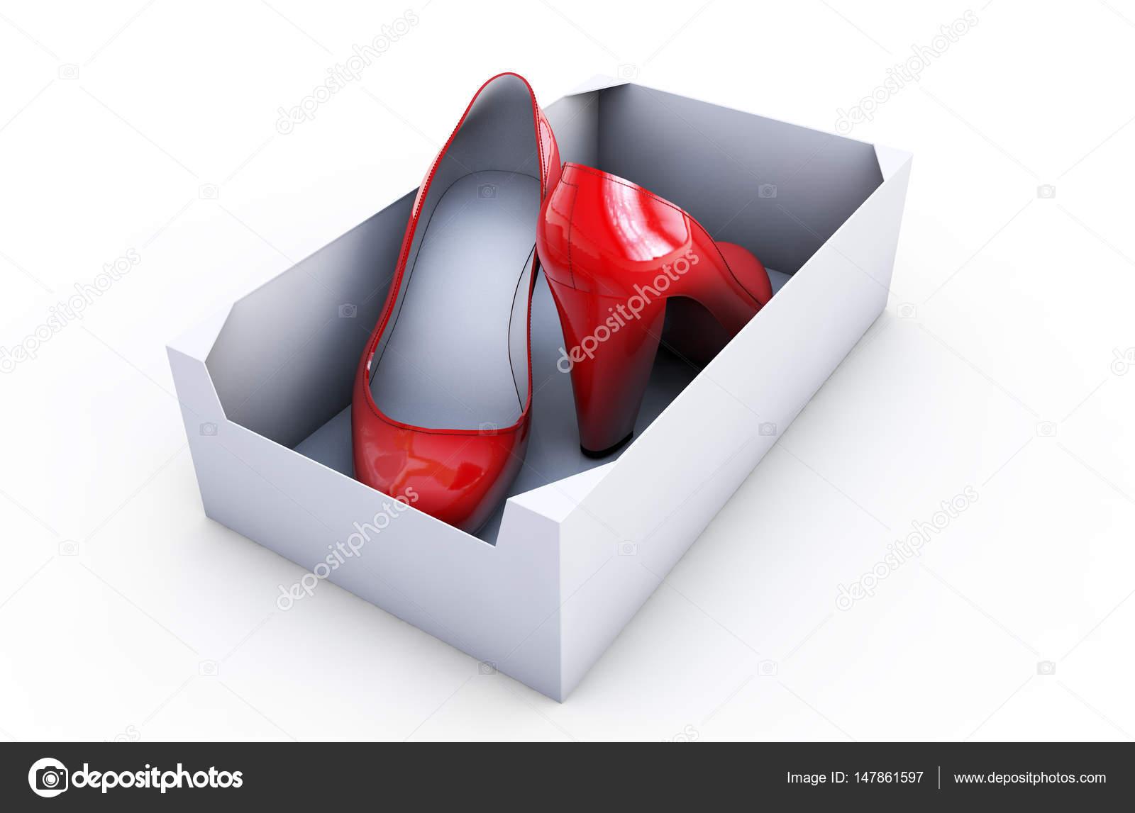 Zapatos Mujer Caja Render Blanco Aislado Sobre Rojos En 3d bfgy76vY