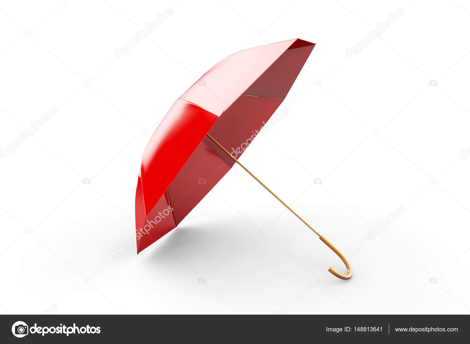 Red Umbrella Or Parasol With Black Handle Isolated On White Back
