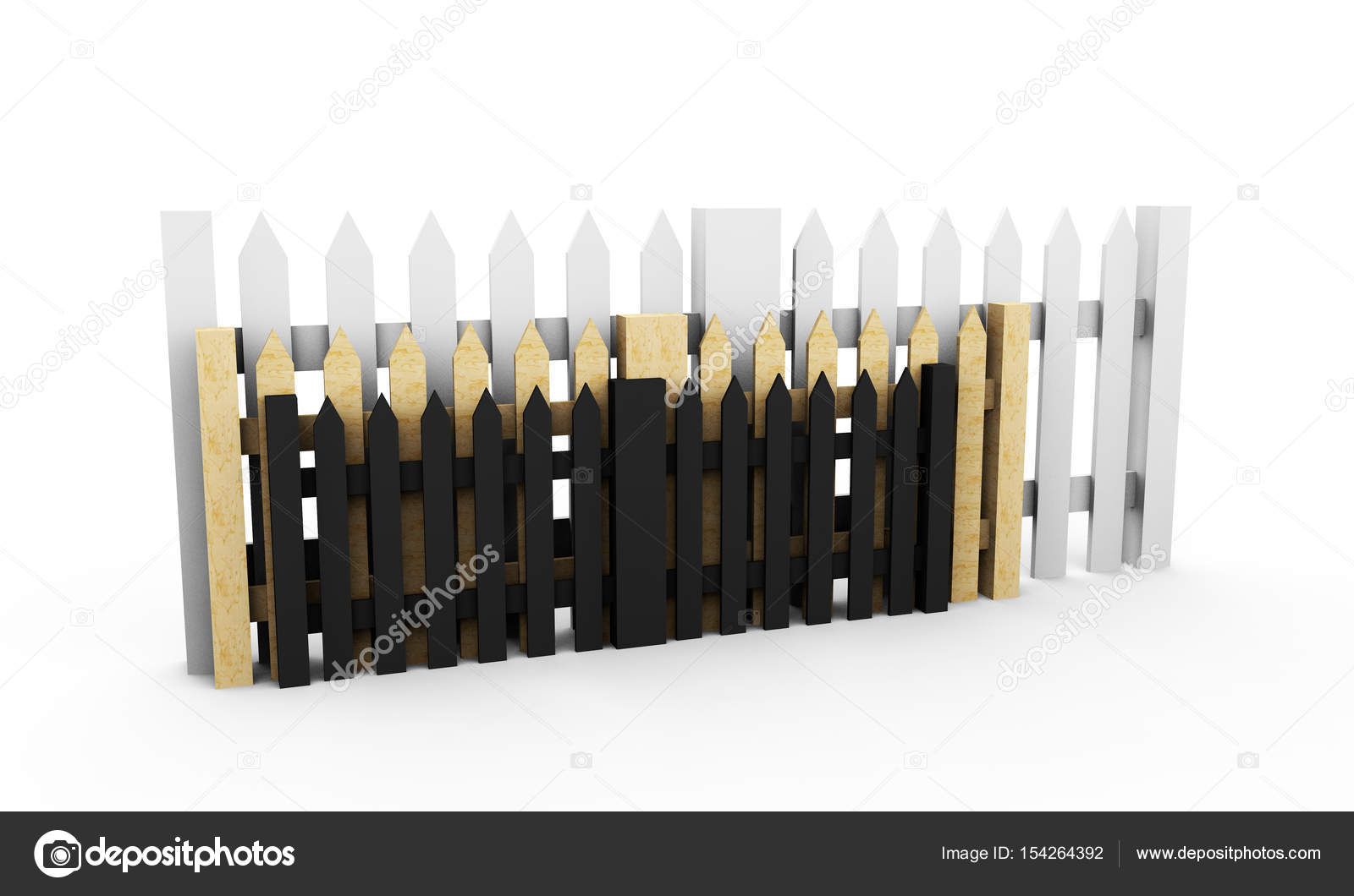 Illustration of a traditional wooden fence  3d render