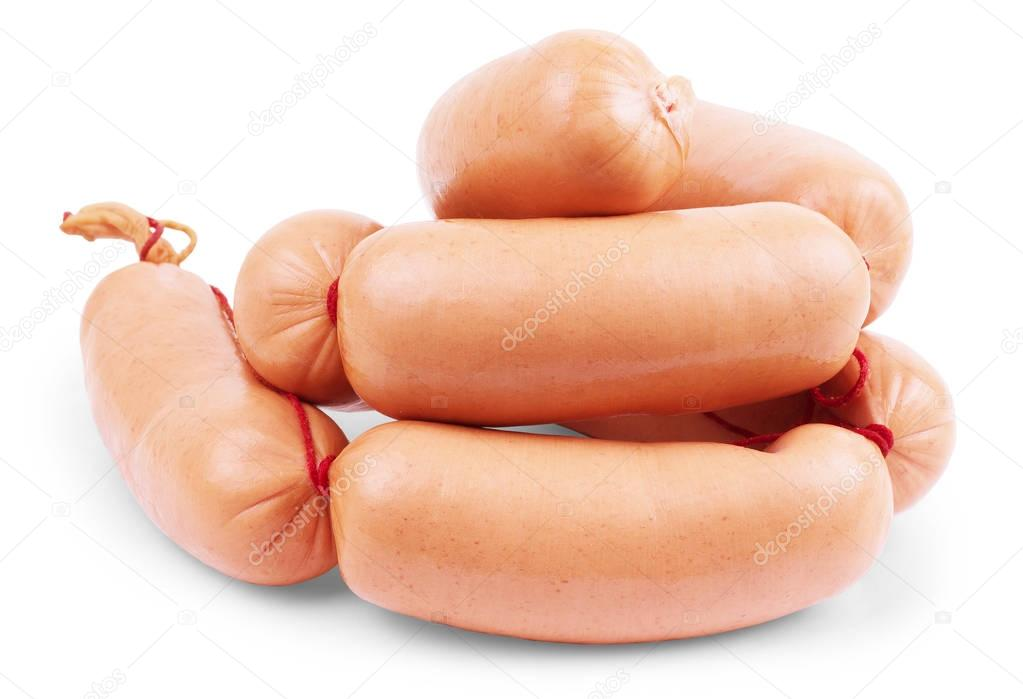 fresh sausages on white background