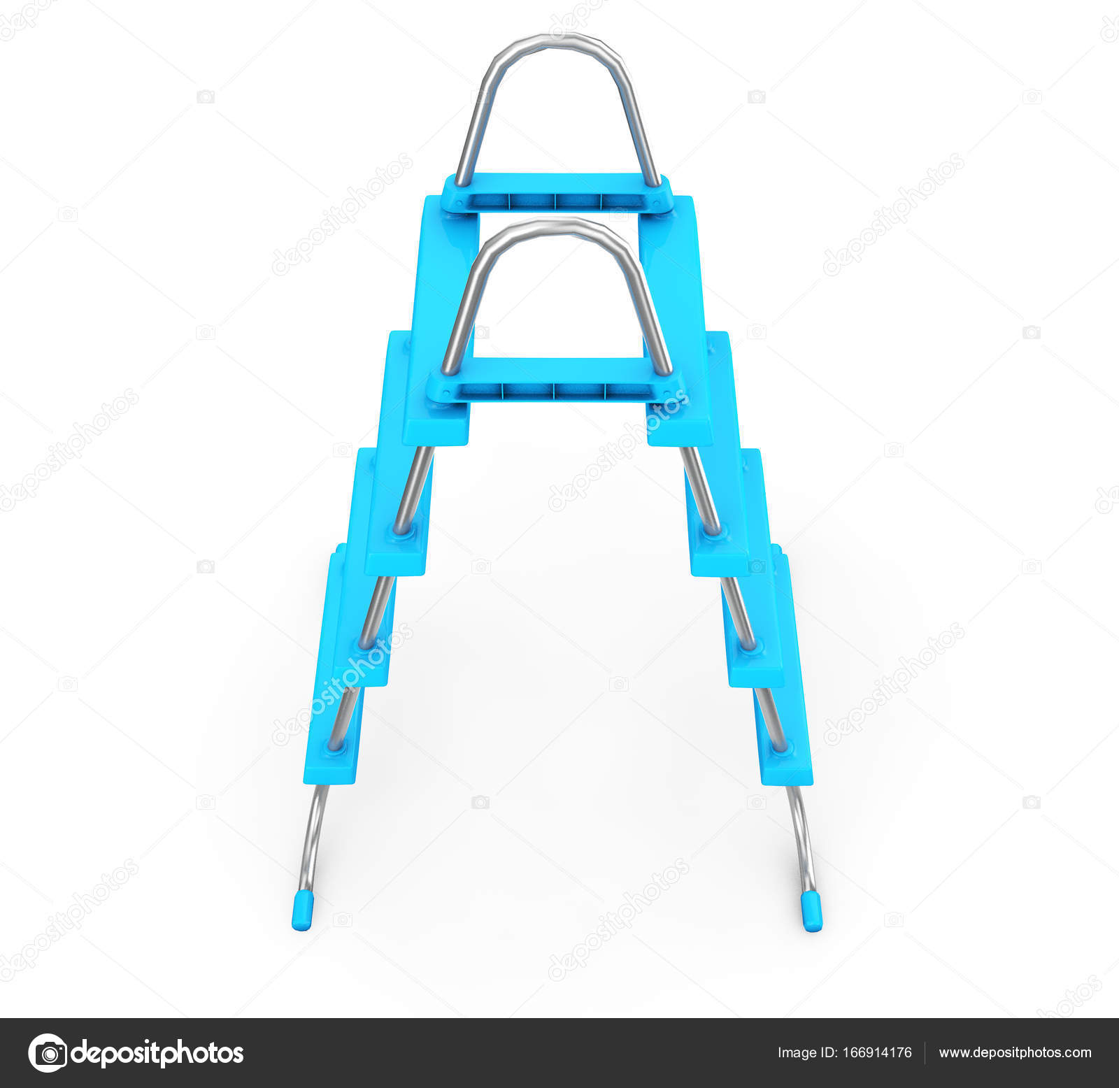 Chrome Swimming Pool Ladders on a white background. 3d ...