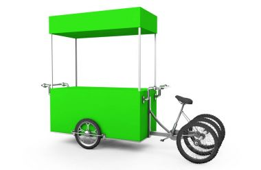 Vintage ice cream bicycle cart bus 3d illustration.