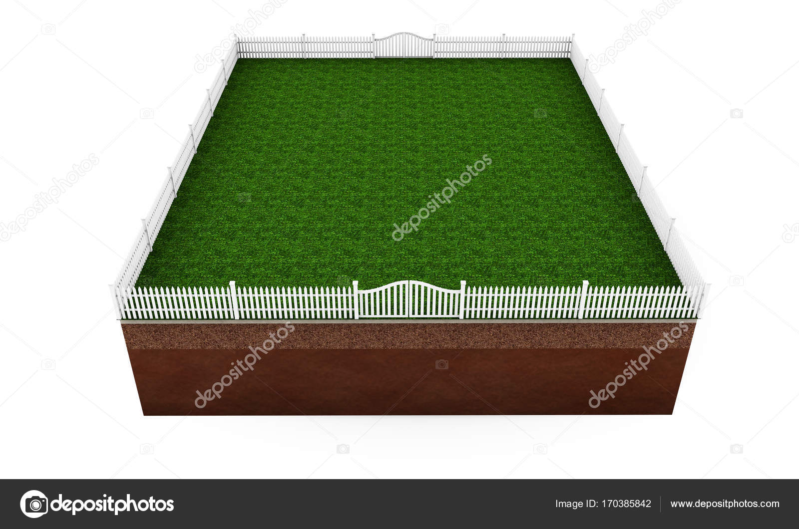 part of land with stone fence  3d rendering — Stock Photo
