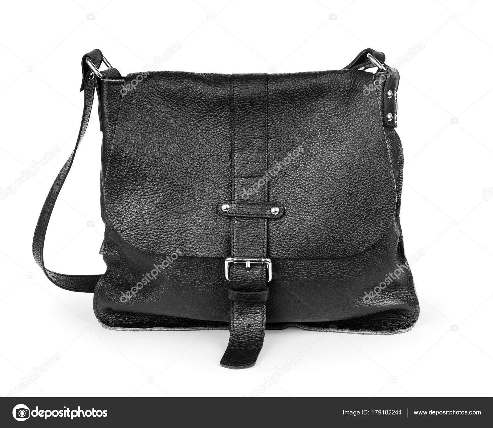 1fadf89d55 Μαύρη δερμάτινη τσάντα γυναίκες που απομονώνονται σε λευκό φόντο — Εικόνα  από Vadarshop