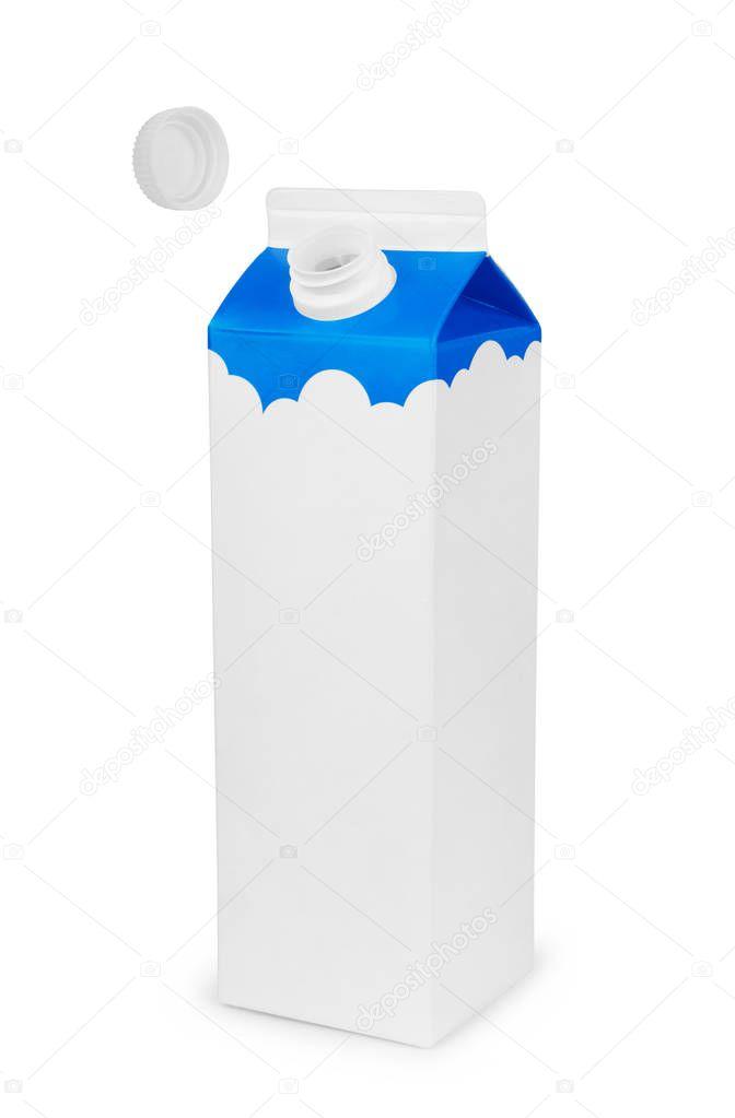 Milk white carton package on a white background