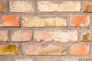 Multicolor brick wall background with copy space.