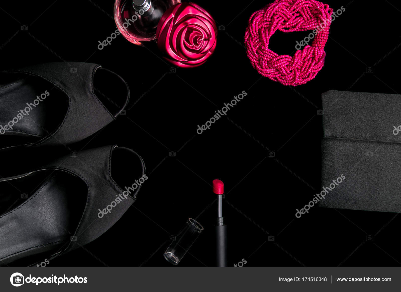 Fashion Lady Accessories Set Black And Pink Minimal Shoes
