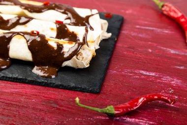 Mexican chicken enchiladas with chili chocolate salsa mole poblano. Tradiional Latin American cuisine.