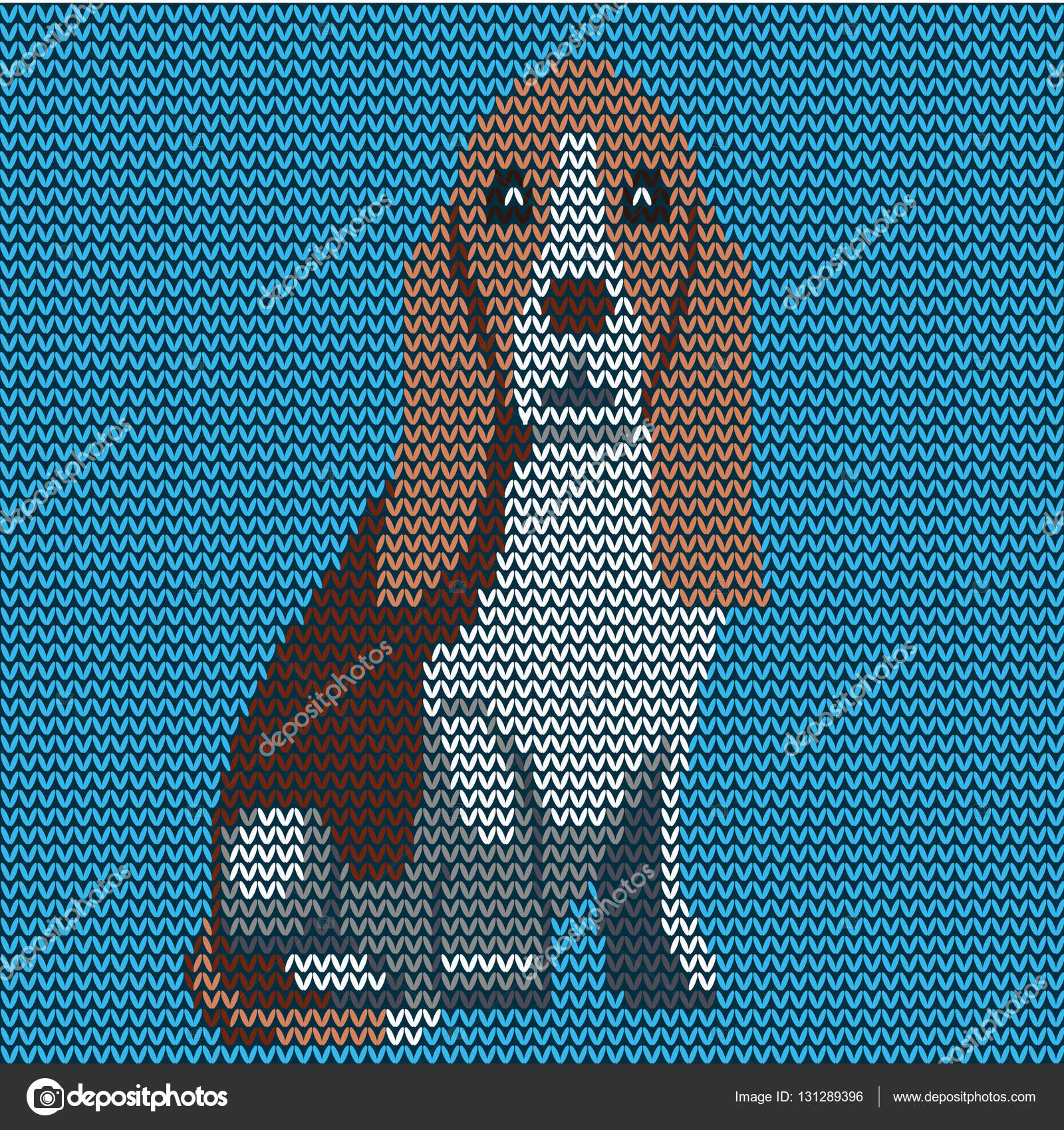 Vector knitted dog pattern. Basset on blue background. — Stock ...