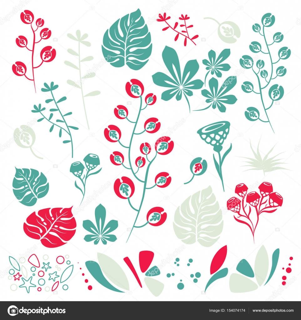 Florales Design inmitten einer netten Farbe, botanische Pflanzen ...