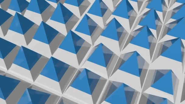 Animated floor formed from pyramids