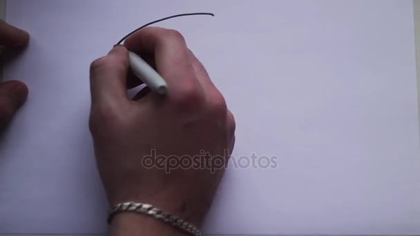 ruka muže vychází z Veselý obličej bílý list papíru