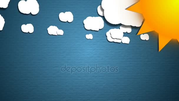 Simple cartoon clouds and sun. Fun background
