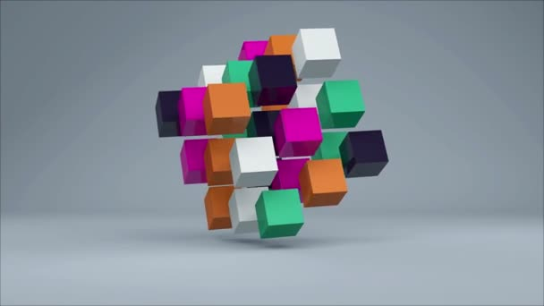 3D Cube. Colorful cubes on grey background