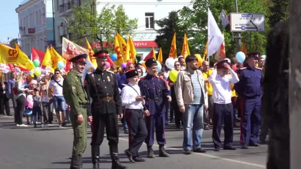 kursk, russland - 1. Mai 2017: Ausstellung zum Weltfest der Arbeit und des Frühlings