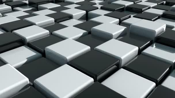 Reális mozgása kockák. Futurisztikus háttér fekete fehér kockák. Kockák, elmélkedés