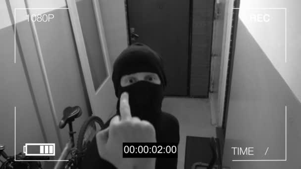 bezpečnostní kamera zachytila lupiče v masce, jak utíká s pytlem kořisti, ukazuje kameře prostředníček