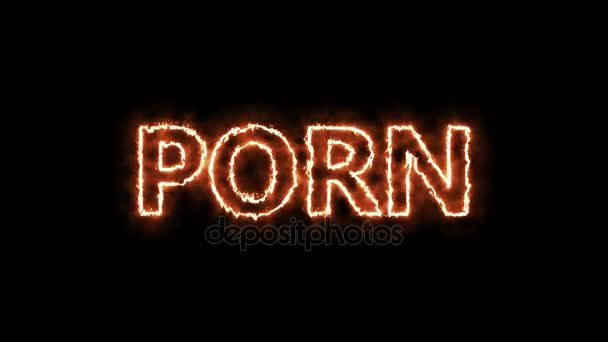 Porn tag hot burning text on black background