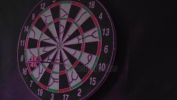 six Dart Arrows Hitting In Dartboard hit the bulls-eye