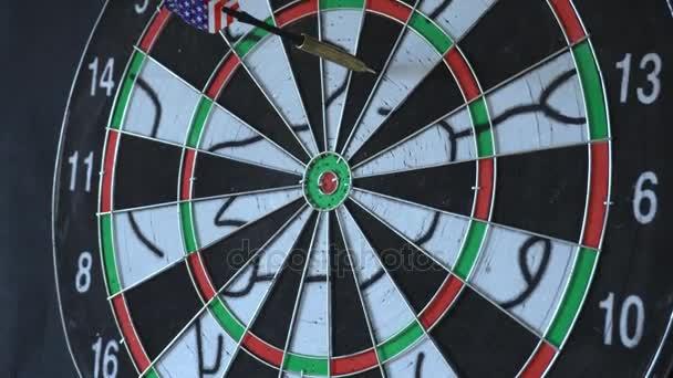 six Dart Arrows Hitting In Dartboard