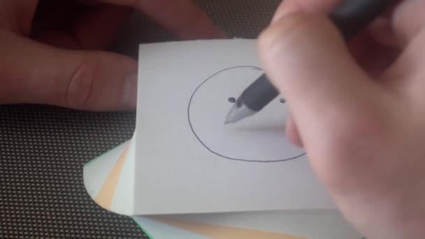 ruka mladého muže nakreslí smutný obličej, pak přeškrtnuto, slzy mimo stránku a nakreslí Veselý obličej