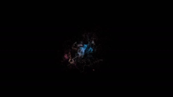 Dispersion of small particles of different colors on a black background