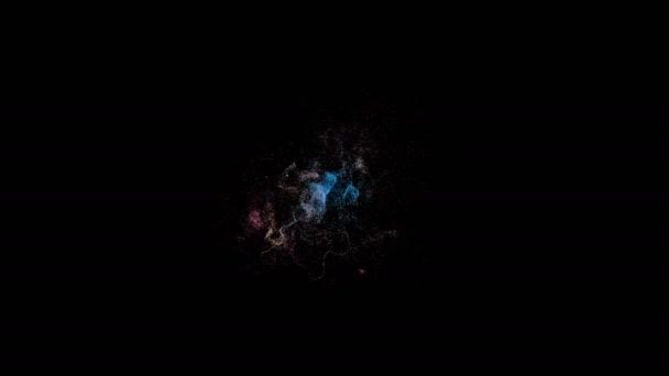 Rozptyl malých částic různých barev na černém pozadí