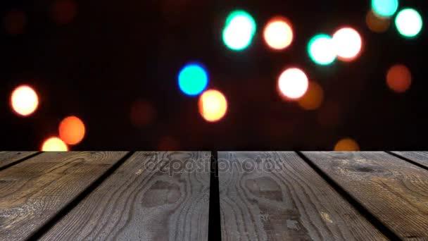 Perspektíva fa és bokeh háttér az éjszaka és a csillogó fények. megjelenítési sablon tétel