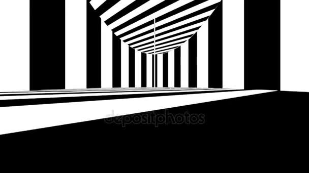 Abstraktní optické umění. Černé a bílé čáry. Bezešvá smyčka