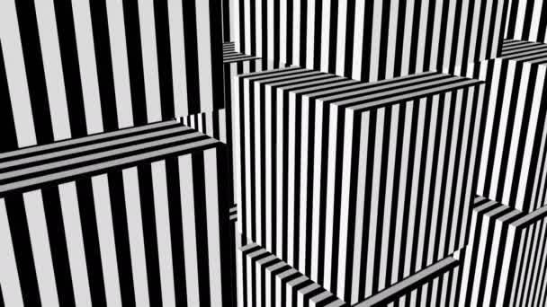 Černé a bílé pruhy formace kostky