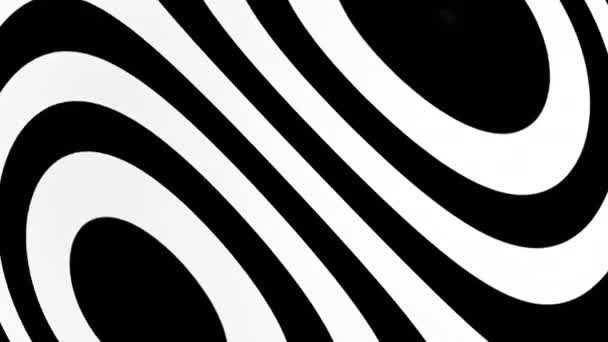 abstract background with black and white elements. Seamless loop hypnotic backdrop