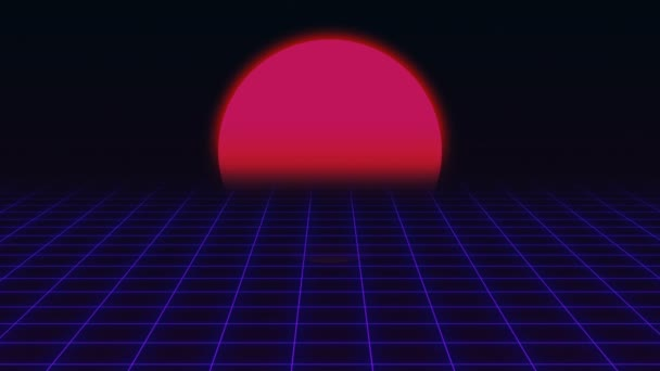 Retro Futuristic.Grid és a naplemente. 80-as évek retro Sci-fi háttér