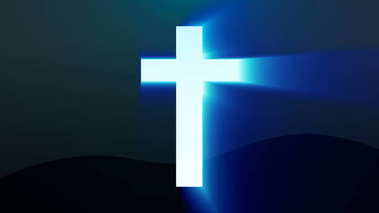 Light cross of Christ, ray beams background