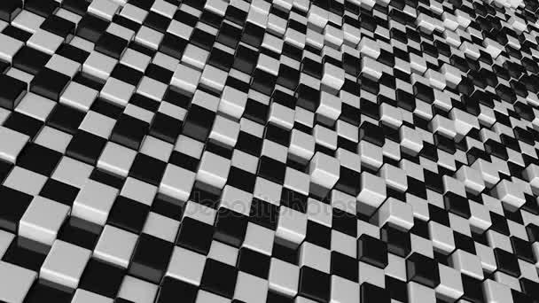 Mozgás a kocka. Futurisztikus háttér fekete fehér kockák. Kockák, elmélkedés