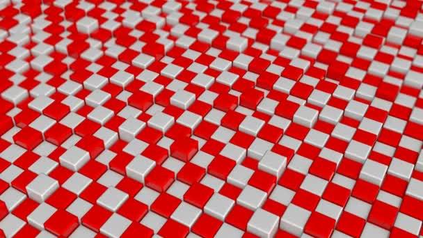 Abstraktní pozadí s červené a bílé čtverce bloků