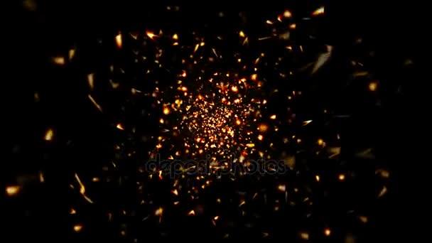 Abstraktní pozadí zlatých částic a tvarů