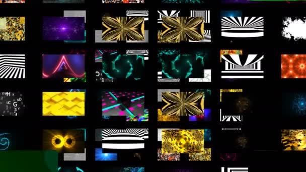 Molti diversi sfondi astratti luminosi nello spazio nero, rendering 3d