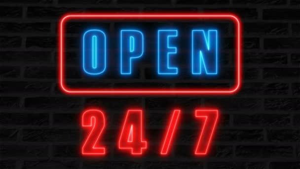 Otevřená 24-7 neonový nápis, retro styl vývěsní štít pro baru nebo klubu, 3d vykreslení computeru pozadí