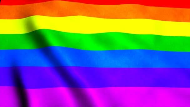 Mává rainbow gay Duhová vlajka ve větru, 3d vykreslování pozadí, computeru