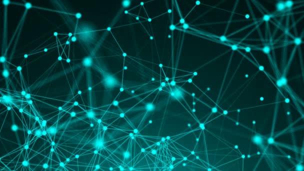 abstrakter polygonaler Raum mit niedrigen Polygonen. Hintergrund mit verbindenden Punkten und Linien. Verbindungsstruktur. 3D-Darstellung