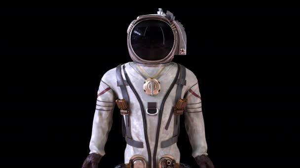 Kosmonauten in einem metallenen Schutzanzug werden in kleine Teilchen zerlegt. Computergenerierter Weltraum-Hintergrund, 3D-Rendering