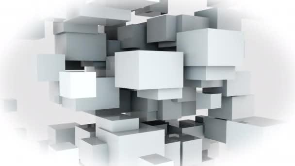 Náhodný design mnoha bílých kostek. Počítač generované webové pozadí, 3D vykreslování