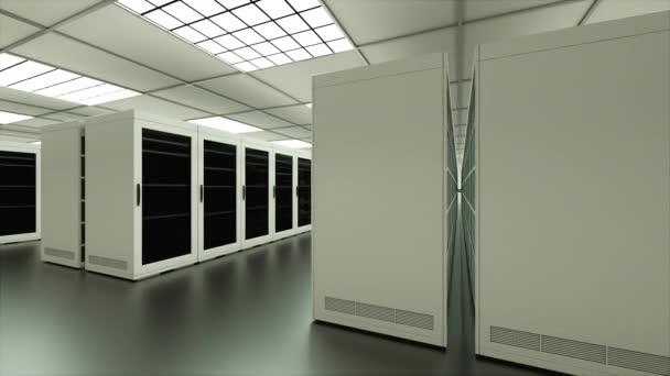 Innenraum der großen Server im Rechenzentrum, Web-Netzwerk und Internet-Telekommunikations-Technologie, Daten-Speicherung und Cloud-Service-Konzept, 3d render