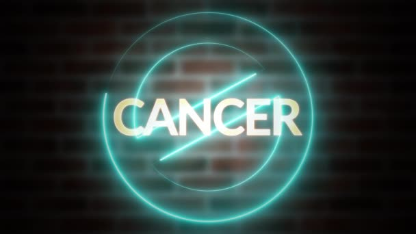 3D rendering of text CANCER against the background of brick, computer generated wireframe symbol stop with glowing laser light