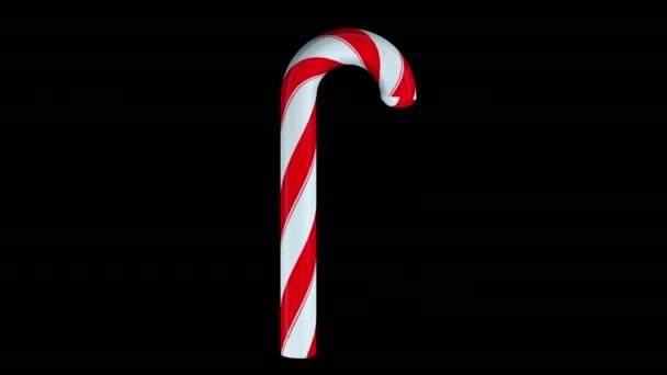 Hagyományos csíkos karácsonyi cukorka, számítógép generálva. Karácsonyi és újévi ünnepség koncepció, 3D renderelés