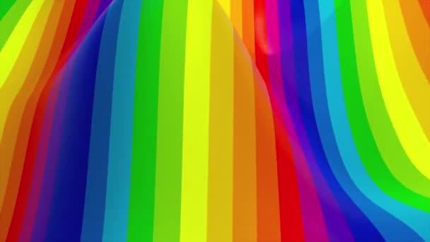 Mnohobarevné vlnité pruhy. Počítačově generovaný povrch s duhovými barvami, 3D vykreslování